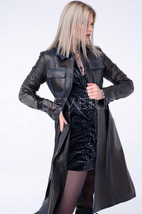 пальто из натуральной кожи с накладными карманами