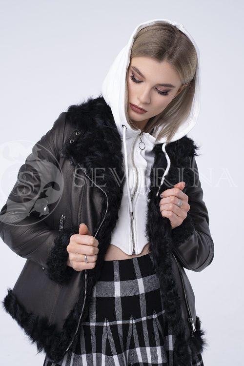 """куртка из натуральной кожи """"косуха"""" с отделкой мехом козлика"""