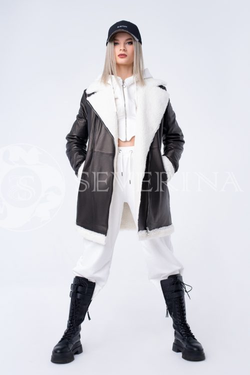 """куртка из натуральной кожи """"косуха"""" удлиненная с отделкой мехом овчины"""
