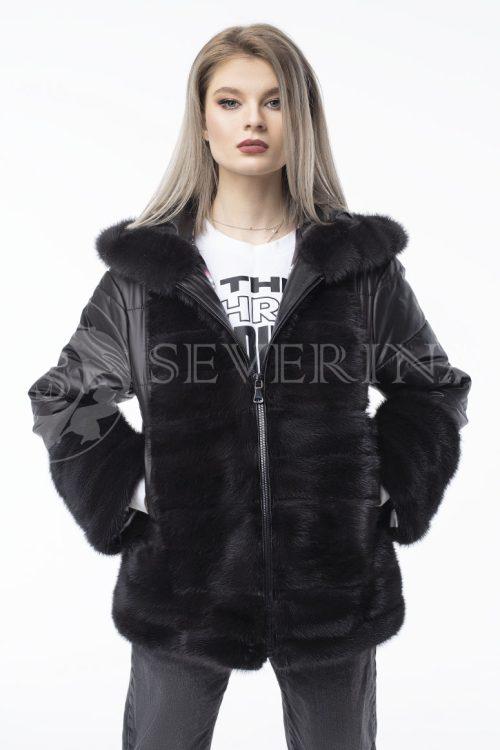 kurtka chernaja norka steganka 500x750 - куртка с отделкой из меха норки