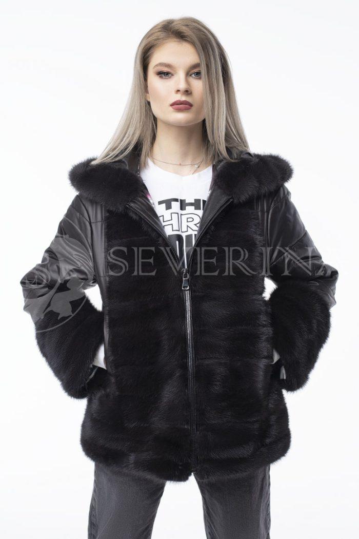 kurtka chernaja norka steganka 700x1050 - куртка с отделкой из меха норки