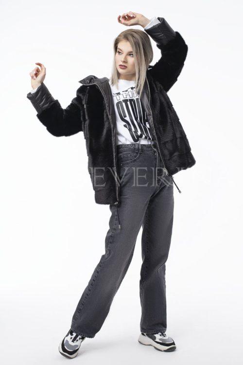 kurtka chernaja norka steganka 2 500x750 - куртка из натуральной кожи с отделкой мехом серебристо-черной лисы