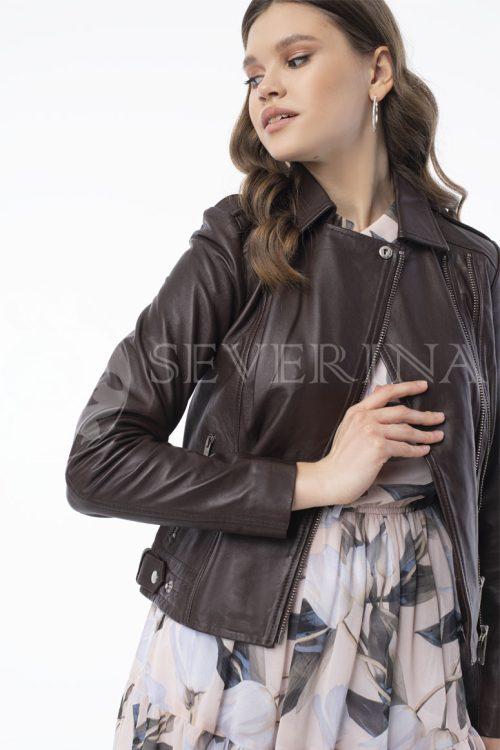 """kurtka kozha korichnevaja 500x750 - куртка из натуральной кожи """"косуха"""" с вышивкой и стразами"""