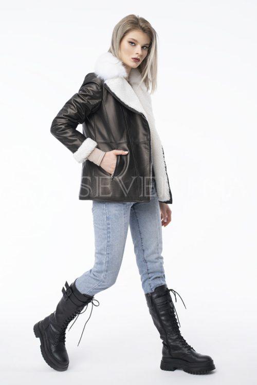 kurtka kozha ovchina pesec 500x750 - куртка из натуральной кожи приталенного силуэта