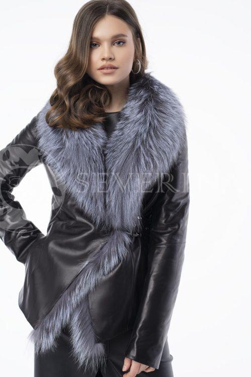 kurtka kozha s remnem chernoburka 500x750 - куртка-трансформер из натуральной кожи с отделкой мехом серебристо-черной лисы