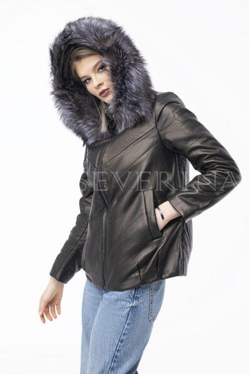 kurtka kozha brilliant chernoburka 500x750 - куртка-трансформер из натуральной кожи с отделкой мехом серебристо-черной лисы
