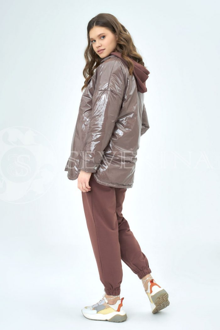 karamel lake 700x1050 - куртка-рубашка из утепленной плащевки лаке
