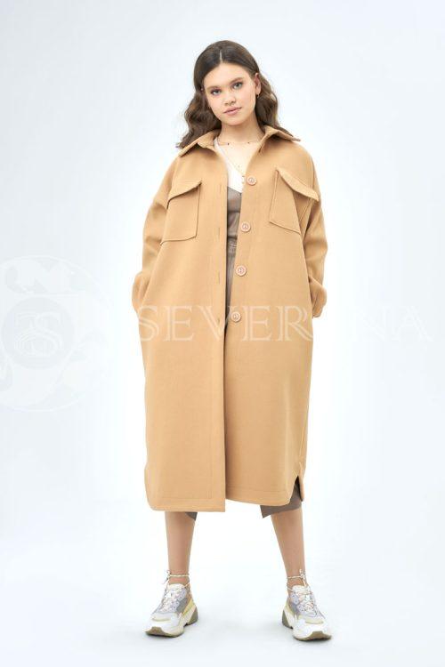 palto rubashka kjemjel 500x750 - пальто-рубашка из мягкой ткани цвета camel