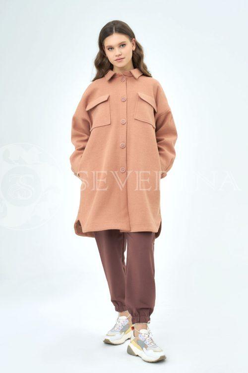 palto rubashka korallovyj 500x750 - пальто-рубашка из мягкой ткани цвета camel