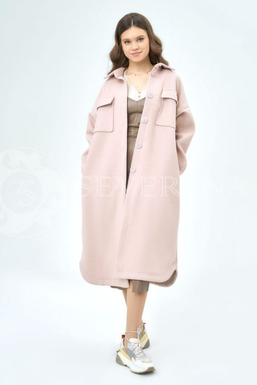 palto rubashka pudra 500x750 - пальто-рубашка из мягкой ткани пудрового цвета