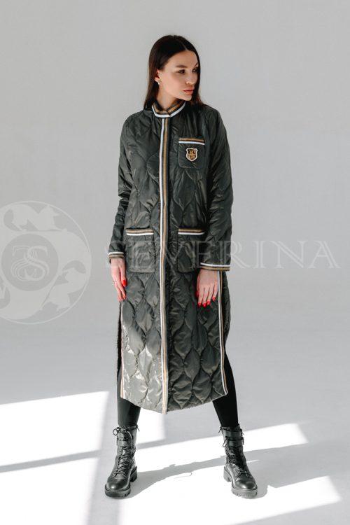 palto steganoe bolotnoe 500x750 - пальто стёганое на биопухе