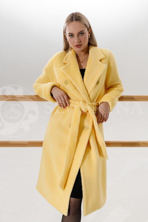 palto zheltoe 500x750 - пальто из мягкой ткани ярко-желтого цвета