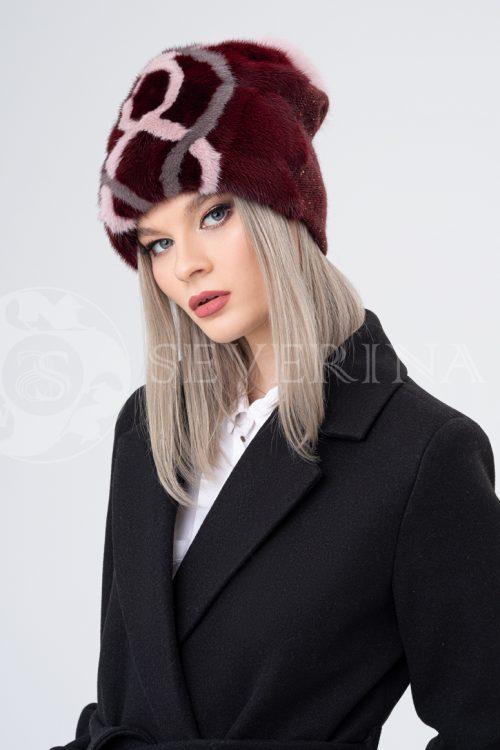 shapka bordovaja ornament 500x750 - шапка вязаная с отделкой мехом норки и песца
