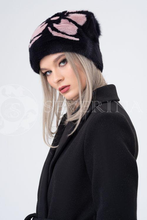 shapka chernaja rozovyj cvetok 500x750 - шапка из меха норки и песца с вязаной отделкой
