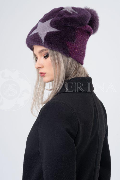 shapka fioletovaja zvezdy   500x750 - шапка из меха норки с вязаной отделкой