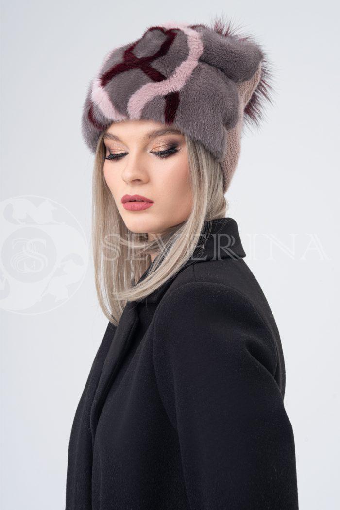 shapka kofejnaja ornament 700x1050 - шапка из меха норки и песца с вязаной отделкой
