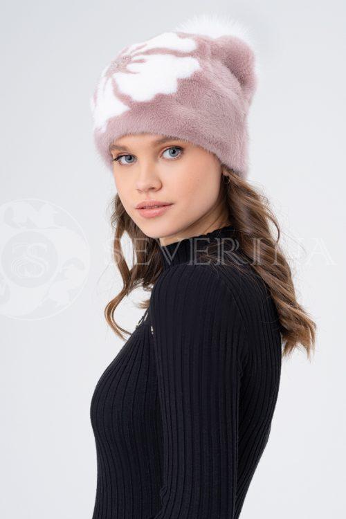 shapka pudra belyj cvetok 500x750 - шапка из меха норки и песца