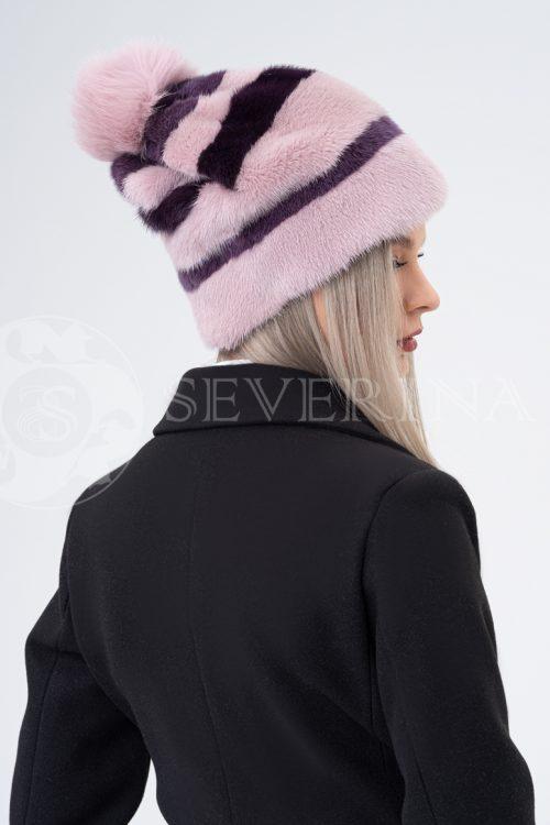 shapka rozovaja polosa bordo 500x750 - шапка из меха норки и песца с вязаной отделкой