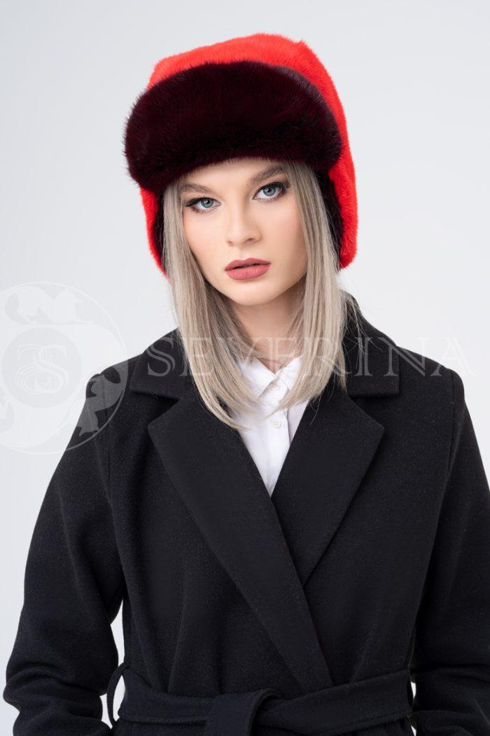 shapka ushanka krasnaja 700x1050 - шапка-ушанка из меха норки