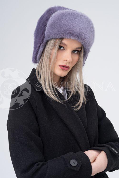shapka ushanka norka lavanda   500x750 - шапка из меха норки с вязаной отделкой