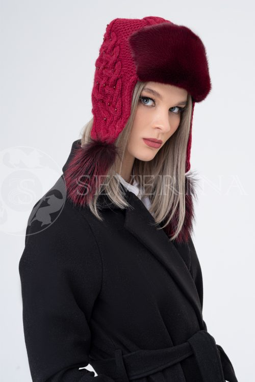 shapka ushanka vjazanaja bordovaja 500x750 - шапка из меха норки и песца с вязаной отделкой