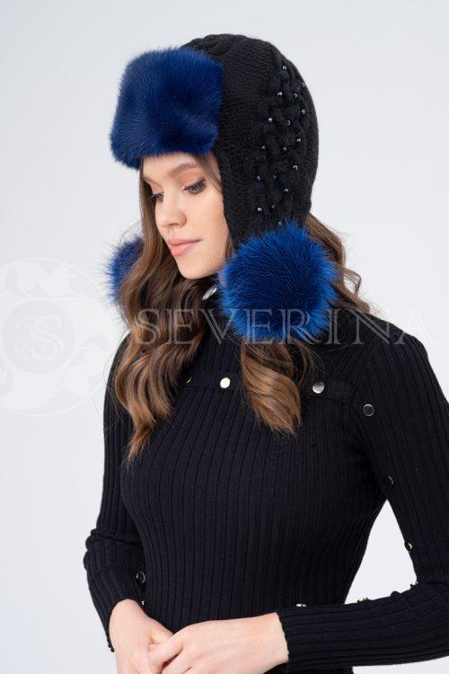 shapka ushanka vjazanaja cherno sinjaja 500x750 - шапка из меха норки и песца с вязаной отделкой