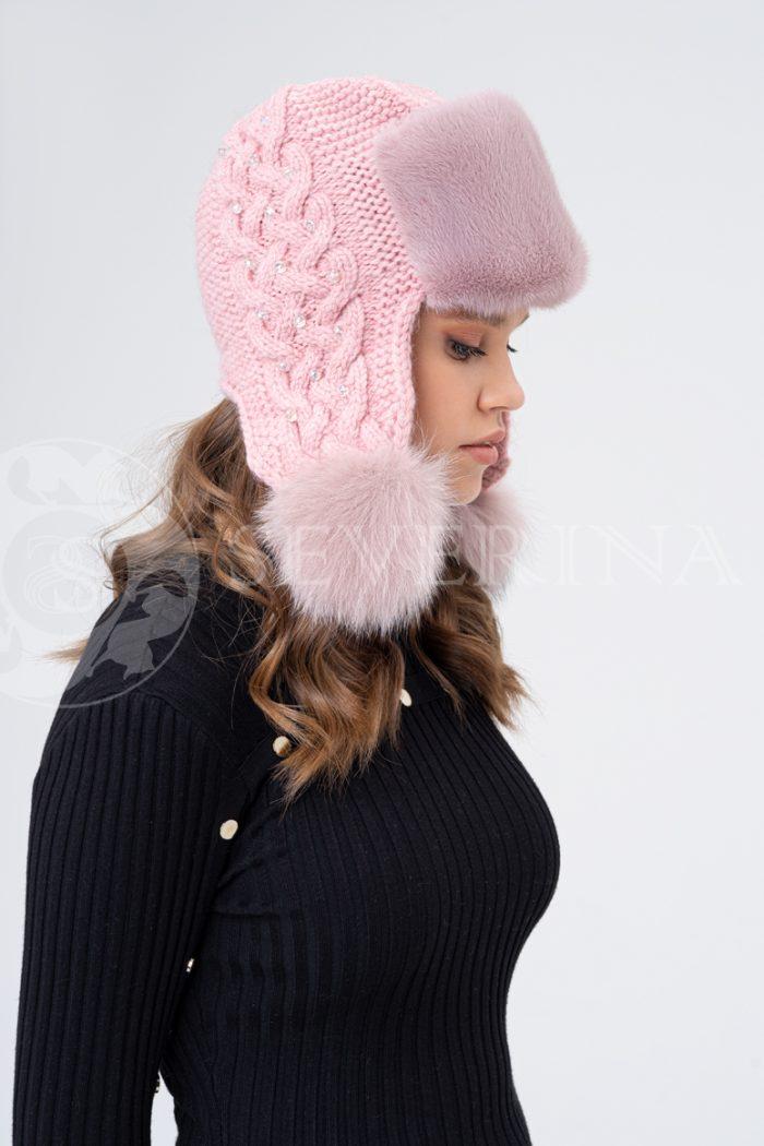 shapka ushanka vjazanaja pudra 700x1050 - шапка вязаная с отделкой мехом норки и песца