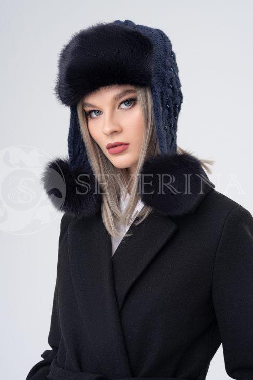shapka ushanka vjazanaja temno sinjaja 500x750 - шапка-ушанка из меха норки