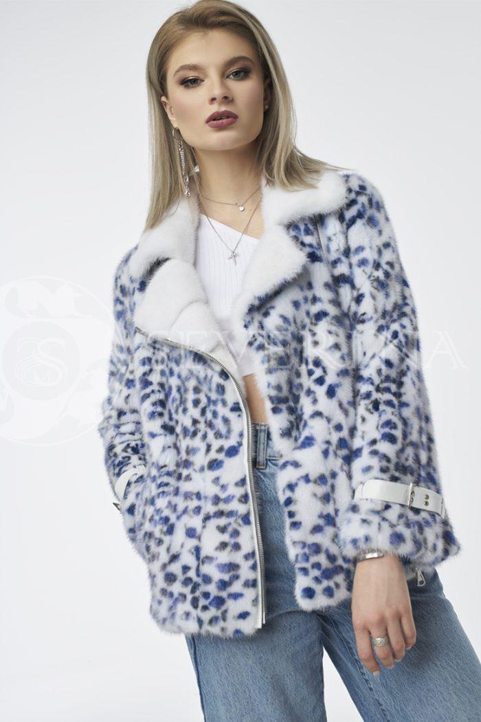 """shuba kosuha belaja sinij leopard 1 700x1050 - шуба """"косуха"""" из меха норки white с анималистичным принтом"""