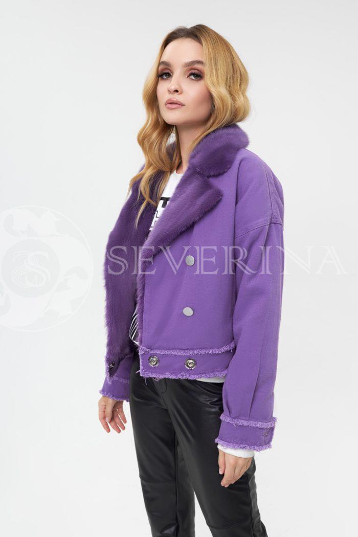 dzhinsovka s norkoj fioletovaja 700x1050 - джинсовая куртка с отделкой мехом норки фиолетового цвета