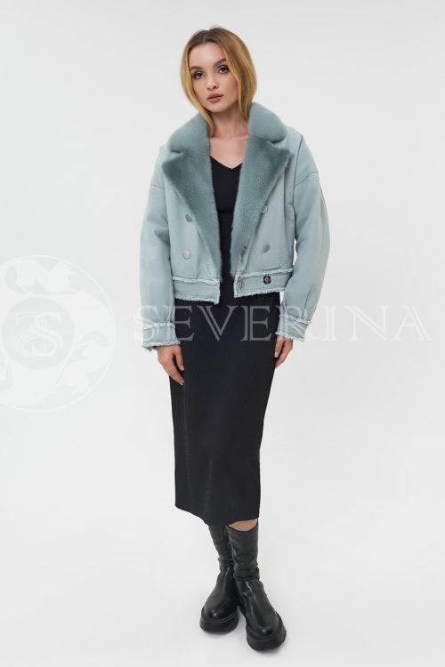 dzhinsovka s norkoj mjata 500x750 - джинсовая куртка с отделкой мехом норки мятного цвета