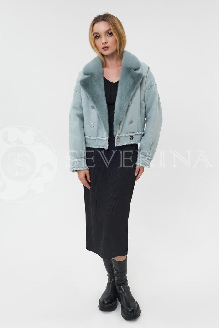 dzhinsovka s norkoj mjata 700x1050 - джинсовая куртка с отделкой мехом норки мятного цвета
