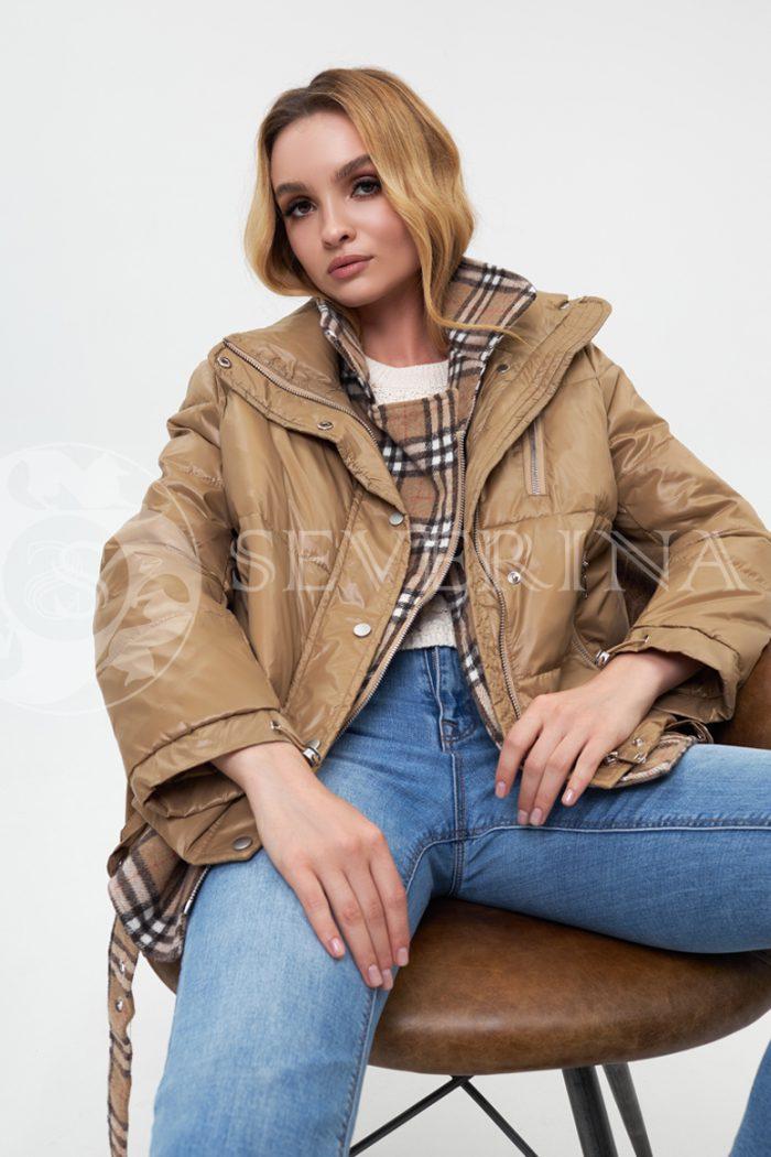 "kurtka bezhevaja kletka bjorberri 700x1050 - куртка-пуховик на молнии с отделкой тканью ""английская клетка"""