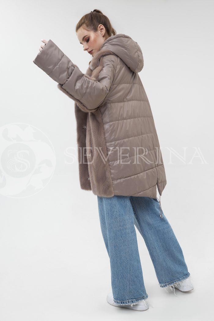 kurtka kofe stezhka s norkoj 700x1050 - куртка-трансформер с отделкой из меха норки