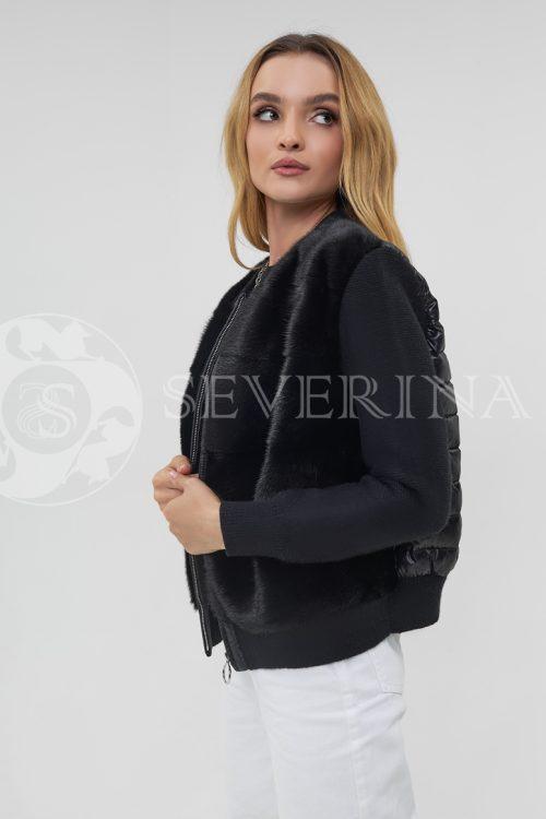 kurtka komb norka stezhka vjazka chernaja 500x750 - куртка с английским воротником и манжетами из меха козлика