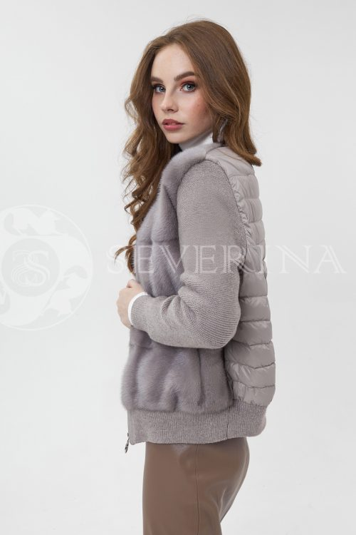 kurtka komb norka stezhka vjazka kofejnaja 500x750 - куртка-бомбер из меха норки комбинированный стежкой и вязаными рукавами