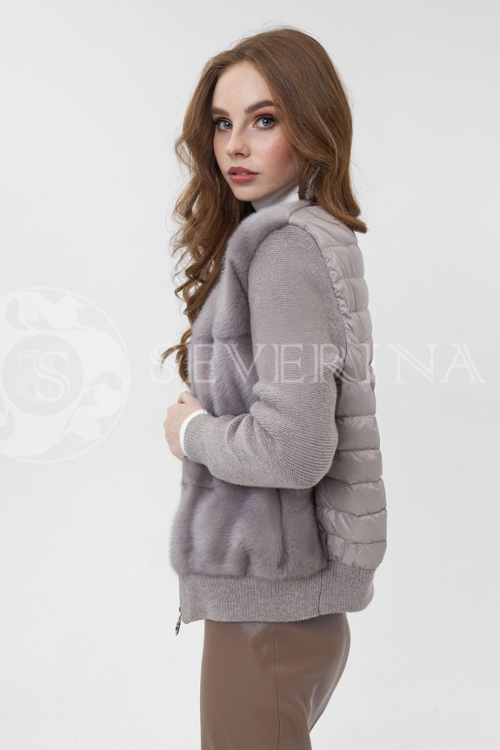 kurtka komb norka stezhka vjazka kofejnaja 700x1050 - куртка-бомбер из меха норки комбинированный стежкой и вязаными рукавами
