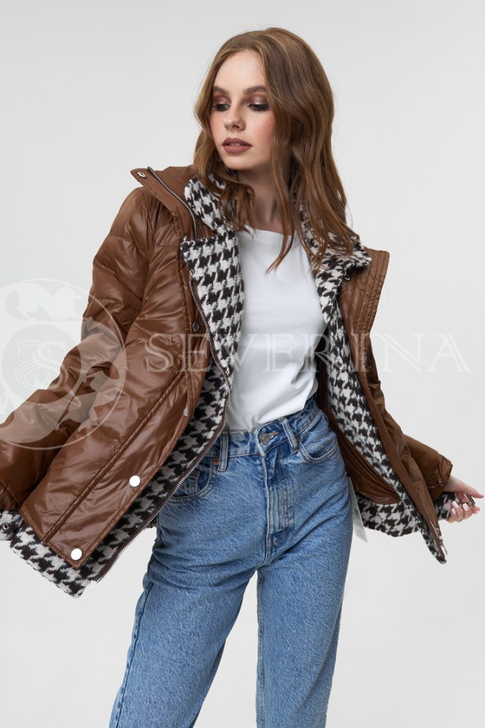 "kurtka shokolad gusinaja lapka 700x1050 - куртка-пуховик на молнии с отделкой тканью ""гусиная лапка"""