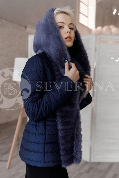 kurtka sinjaja norka semnyj kapjushon 500x750 - куртка со съёмным капюшоном из меха норки