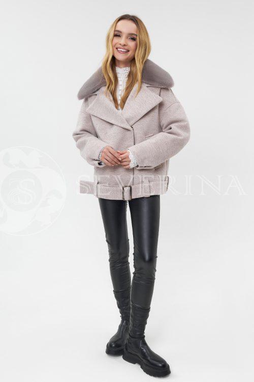 """kurtka tvidovaja bezh s norkoj 500x750 - куртка """"авиатор"""" из пальтовой ткани с отделкой мехом норки"""
