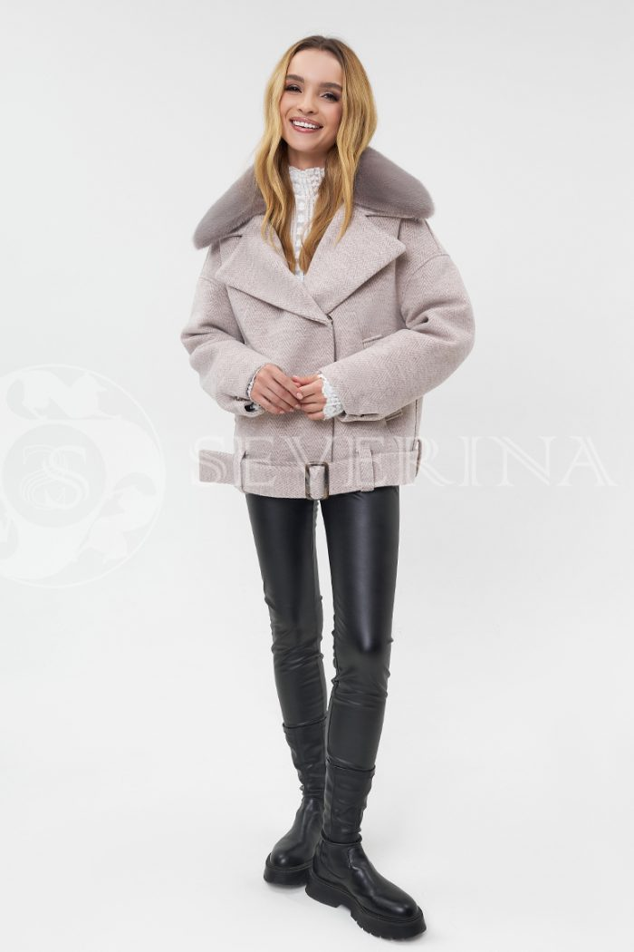 """kurtka tvidovaja bezh s norkoj 700x1050 - куртка """"авиатор"""" из пальтовой ткани с отделкой мехом норки"""