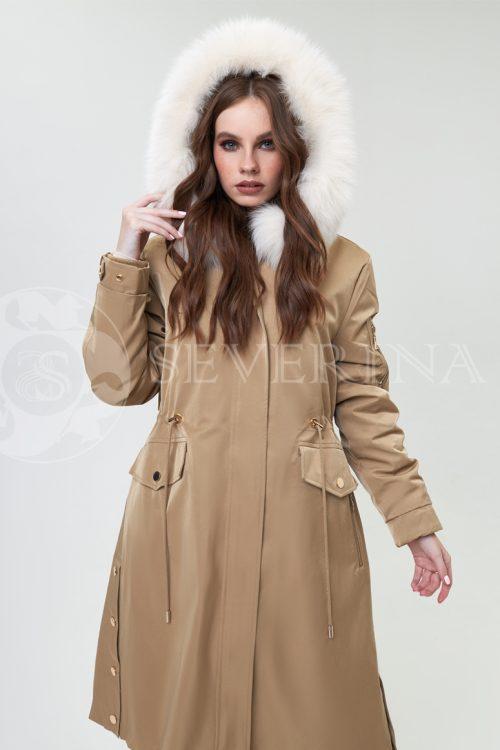 parka bezhevaja pesec 1 500x750 - куртка-парка с капюшоном и отделкой мехом песца