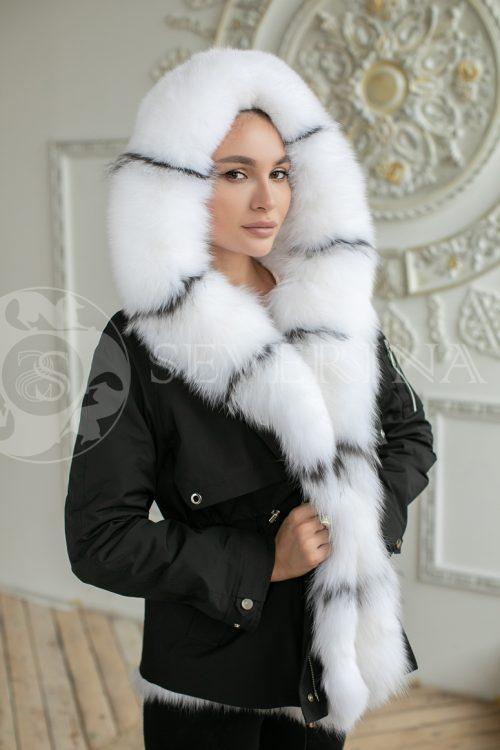 parka chernaja lisa belaja 500x750 - куртка-парка с отделкой мехом песца