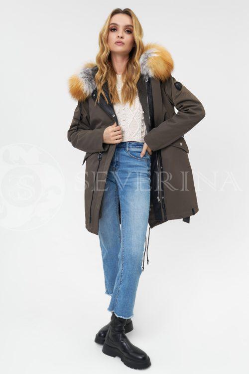 parka haki lisa 500x750 - куртка-парка с отделкой мехом лисы