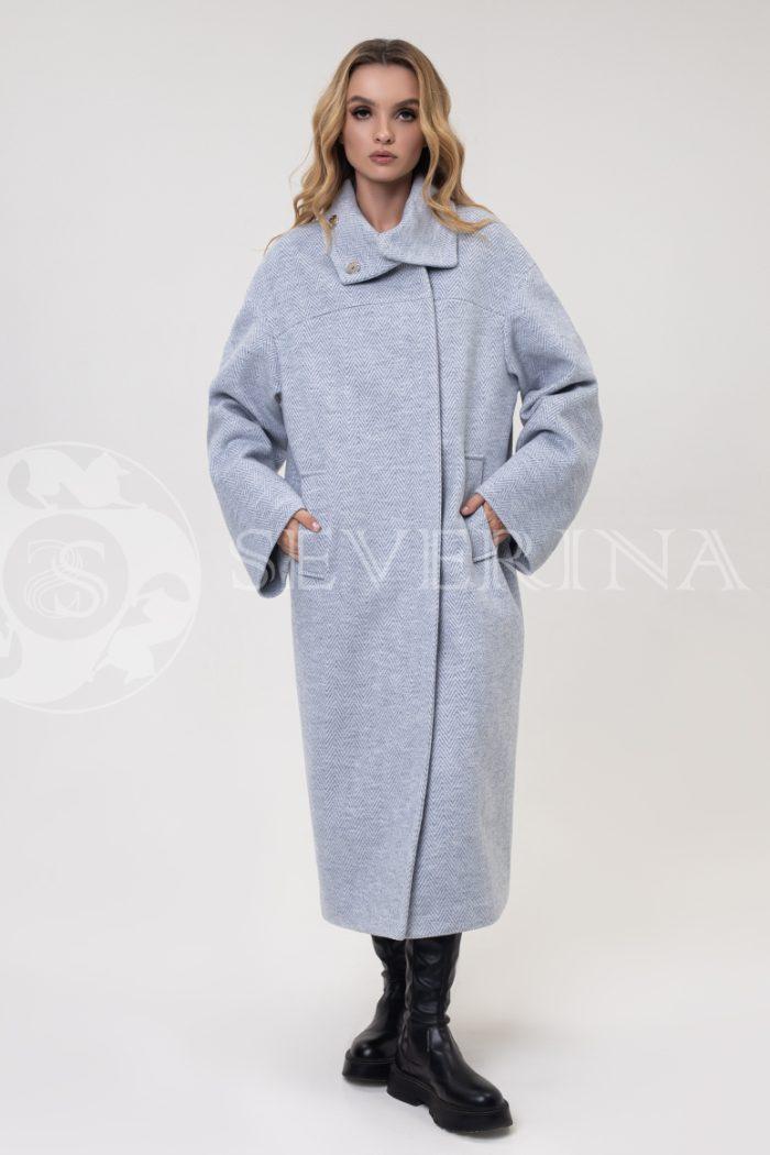 """palto elochka goluboe 700x1050 - пальто оверсайз """"в ёлочку"""""""