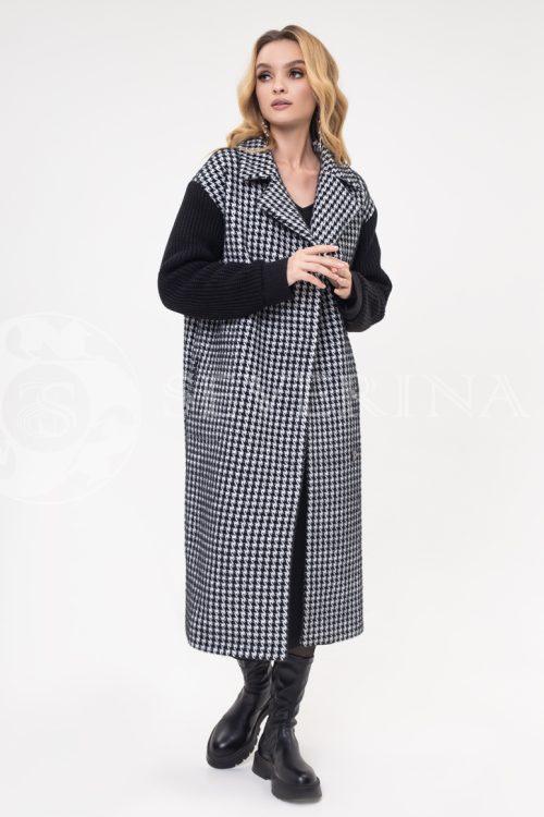 palto gusinaja lapka chernye rukava 500x750 - пальто в гусиную лапку с вязаными рукавами