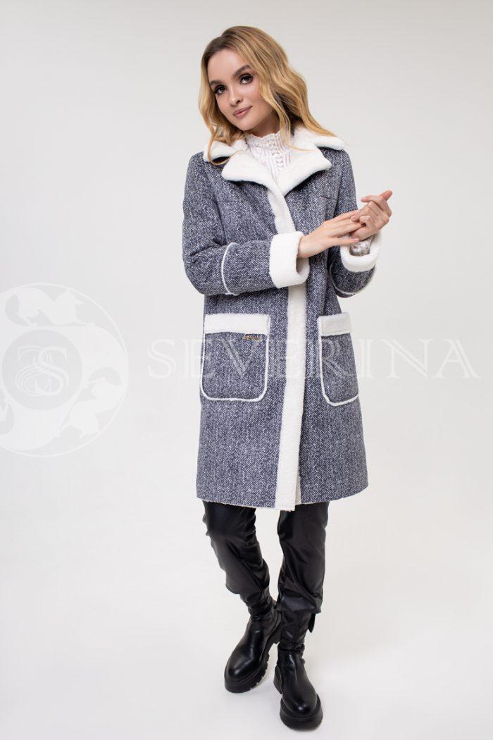 """palto jekomeh tvid 700x1050 - пальто из экомеха с принтом """"в ёлочку"""""""