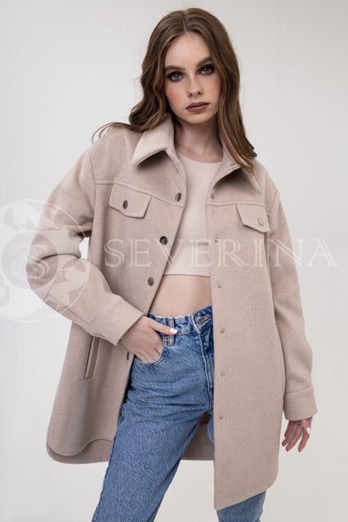 palto rubashka bezh 500x750 - пальто-рубашка из мягкой ткани на кнопках