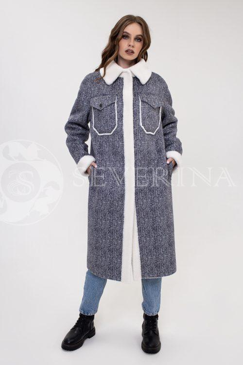 "palto rubashka jekomeh tvid 500x750 - пальто-рубашка из экомеха с принтом ""в ёлочку"""