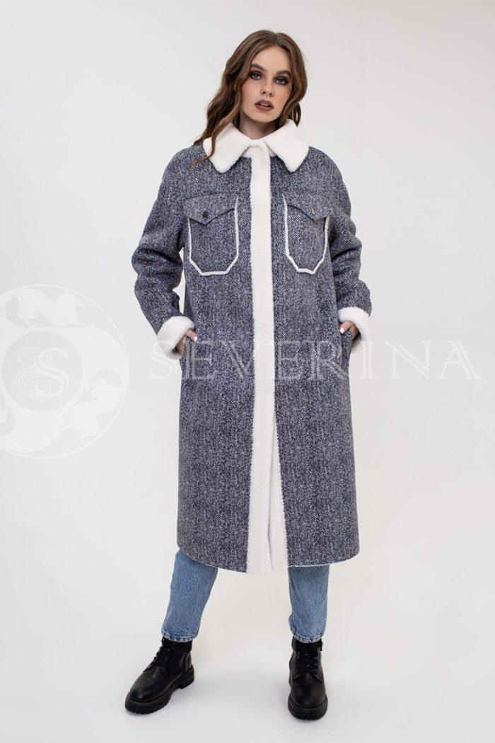 "palto rubashka jekomeh tvid 700x1050 - пальто-рубашка из экомеха с принтом ""в ёлочку"""
